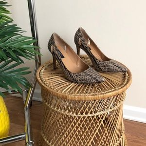 Ann Taylor Animal Print Cut Out Leather Pumps 7.5